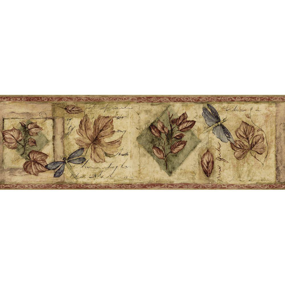 The Wallpaper Company 8 in. x 10 in. Burgundy Textured Leaf Border Sample-DISCONTINUED