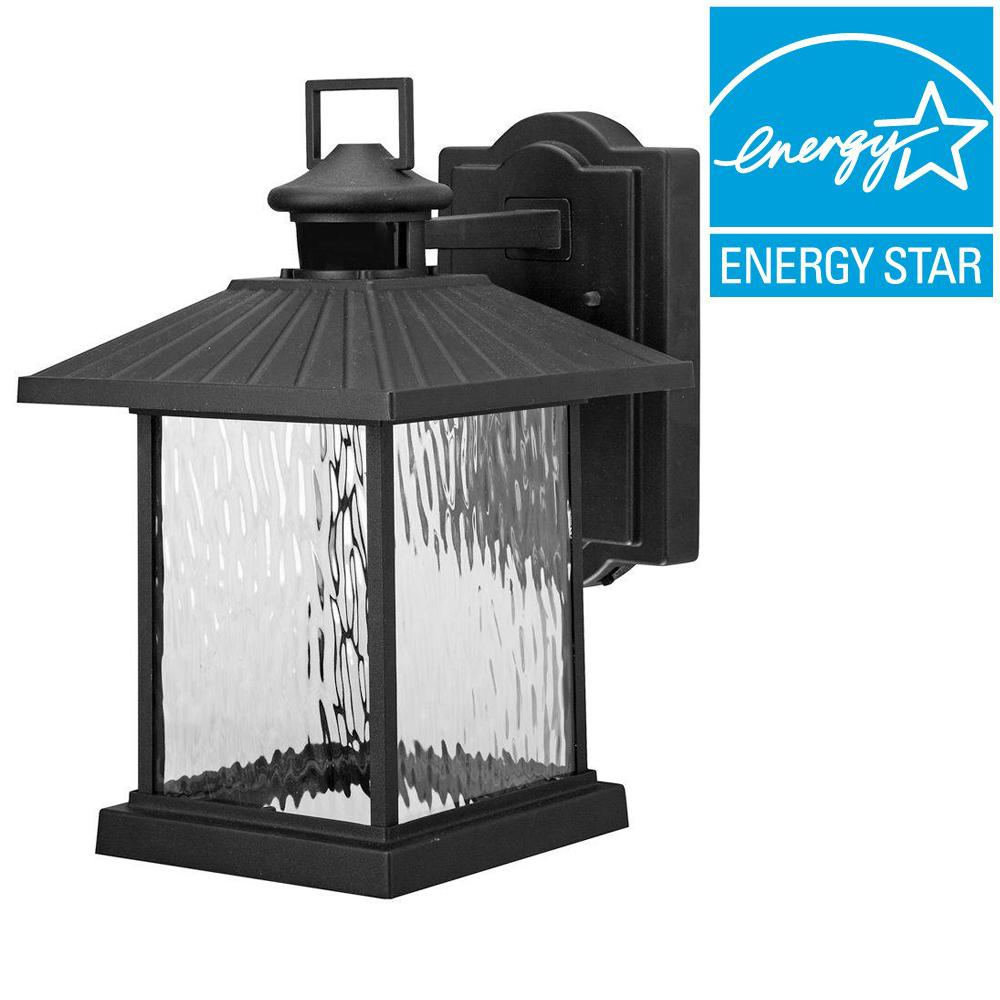 Hampton Bay Lumsden Outdoor Black Led Motion Sensor Wall