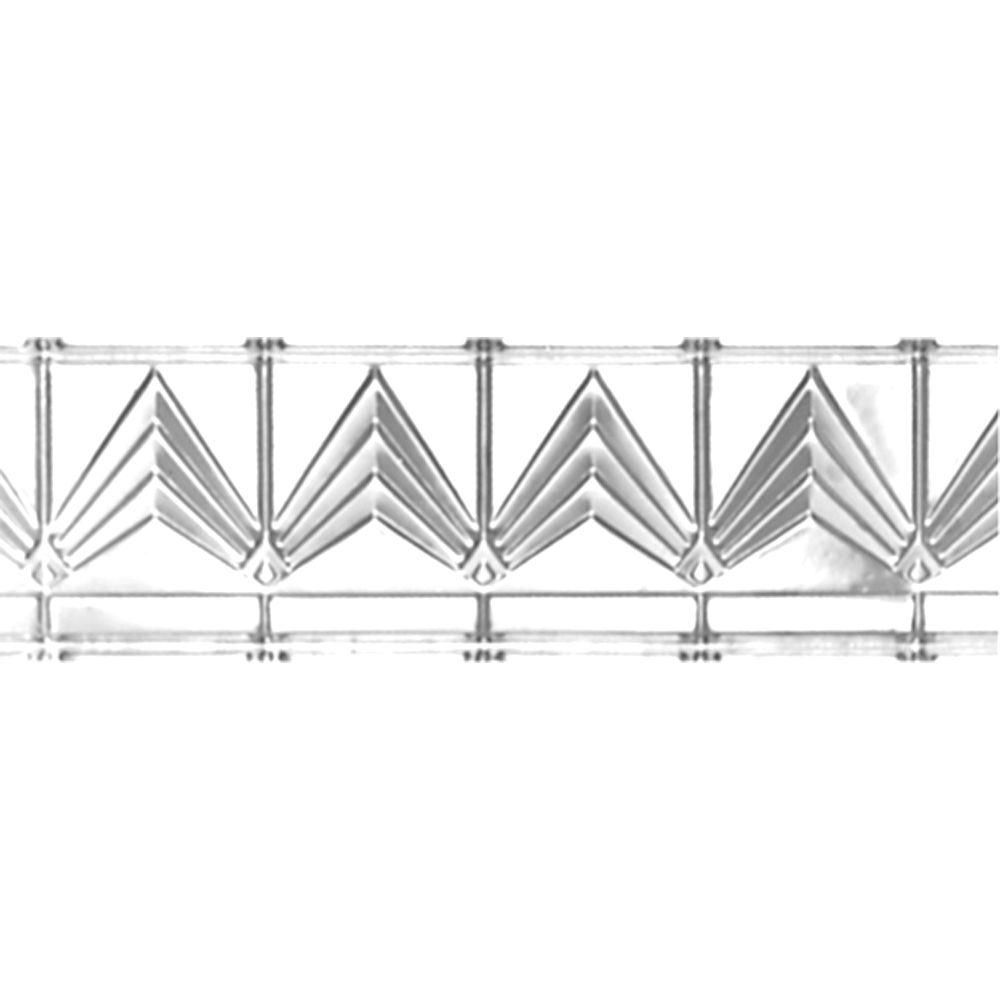 Shanko 6 in. x 4 ft. x 6 in. Brite Chrome Nail-up/Direct Application Tin Ceiling Cornice (6-Pack)
