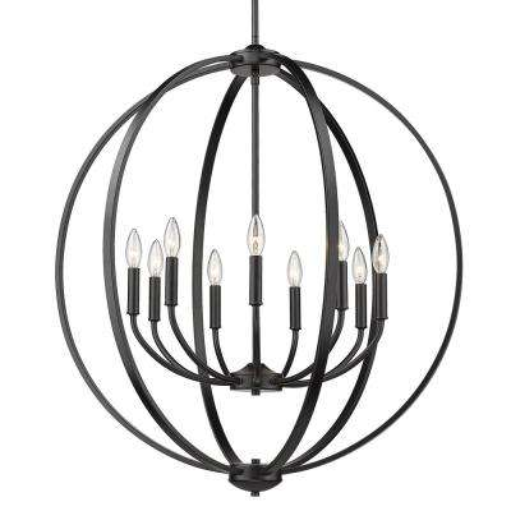 Colson 9-Light Matte Black Globe Chandelier