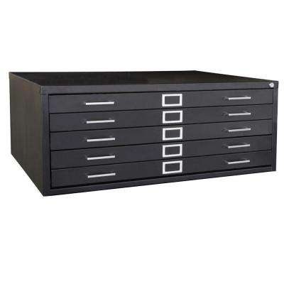 16.13 in. H x 40.75 in. W x 28.4 in. D 5-Drawer Black Flat File Cabinet