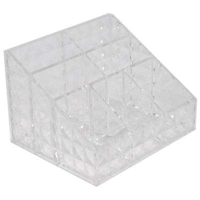 Beveled Shatter-Resistant Plastic 7-Compartment Square Cosmetic Organizer in Clear