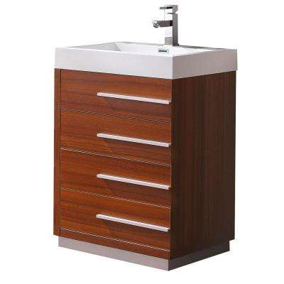 Bath Vanity In Teak With Acrylic Vanity Top In White With White