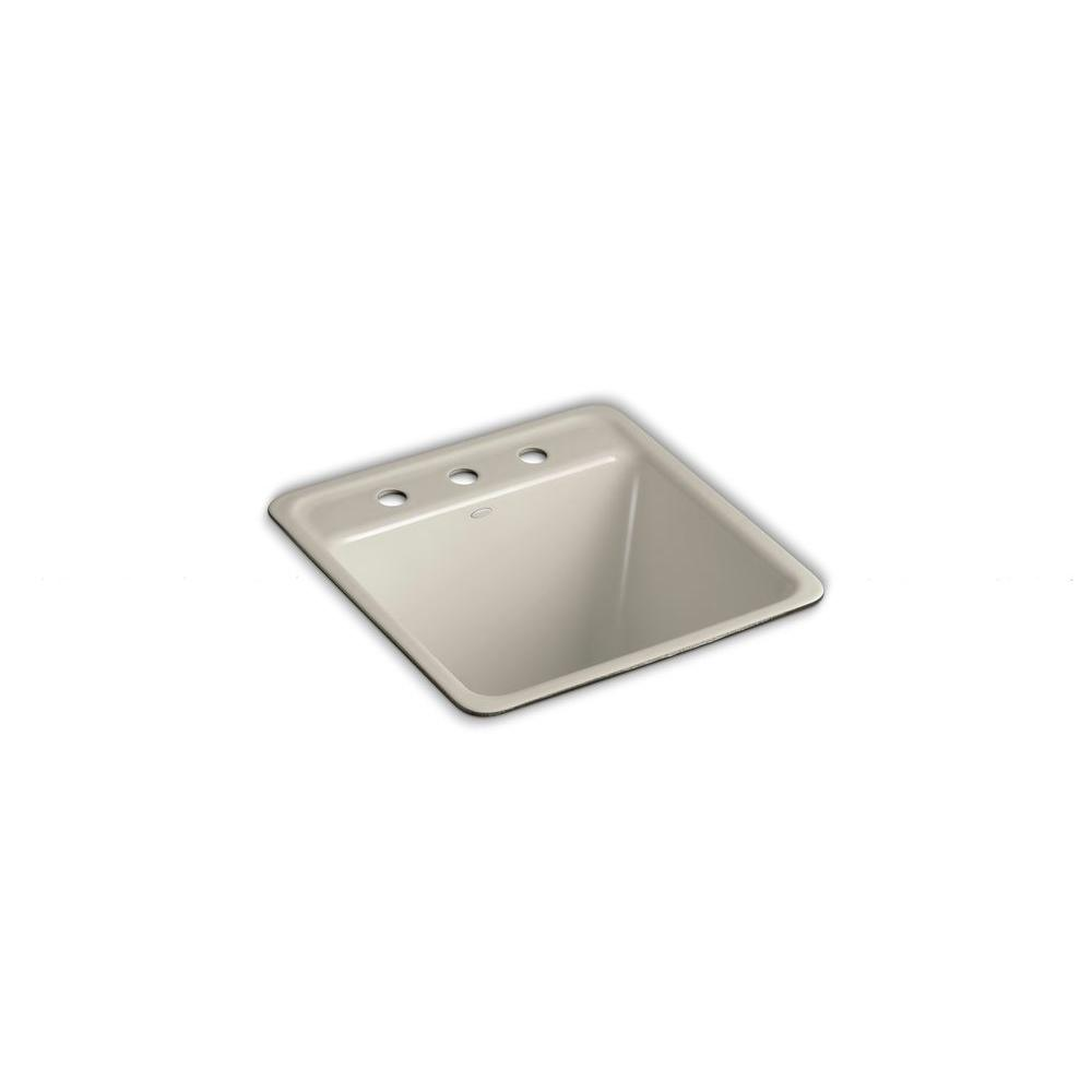 KOHLER Park Falls Undermount Cast Iron 21x22x13.625 3-Hole Single Bowl Utility Sink in Sandbar