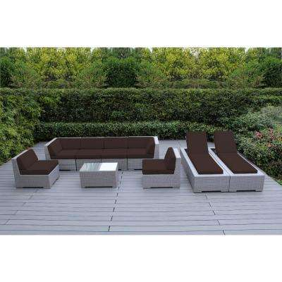 Gray 9-Piece Wicker Patio Combo Conversation Set with Spuncrylic Brown Cushions