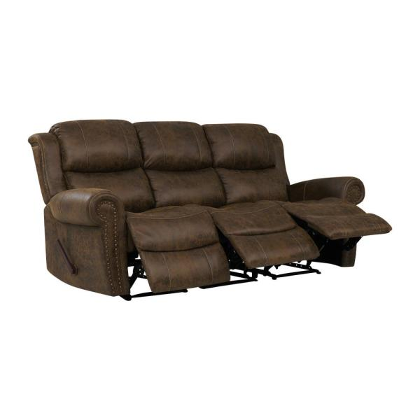 ProLounger Distressed Saddle Brown Faux Leather 3-Seat Rolled Arm ...