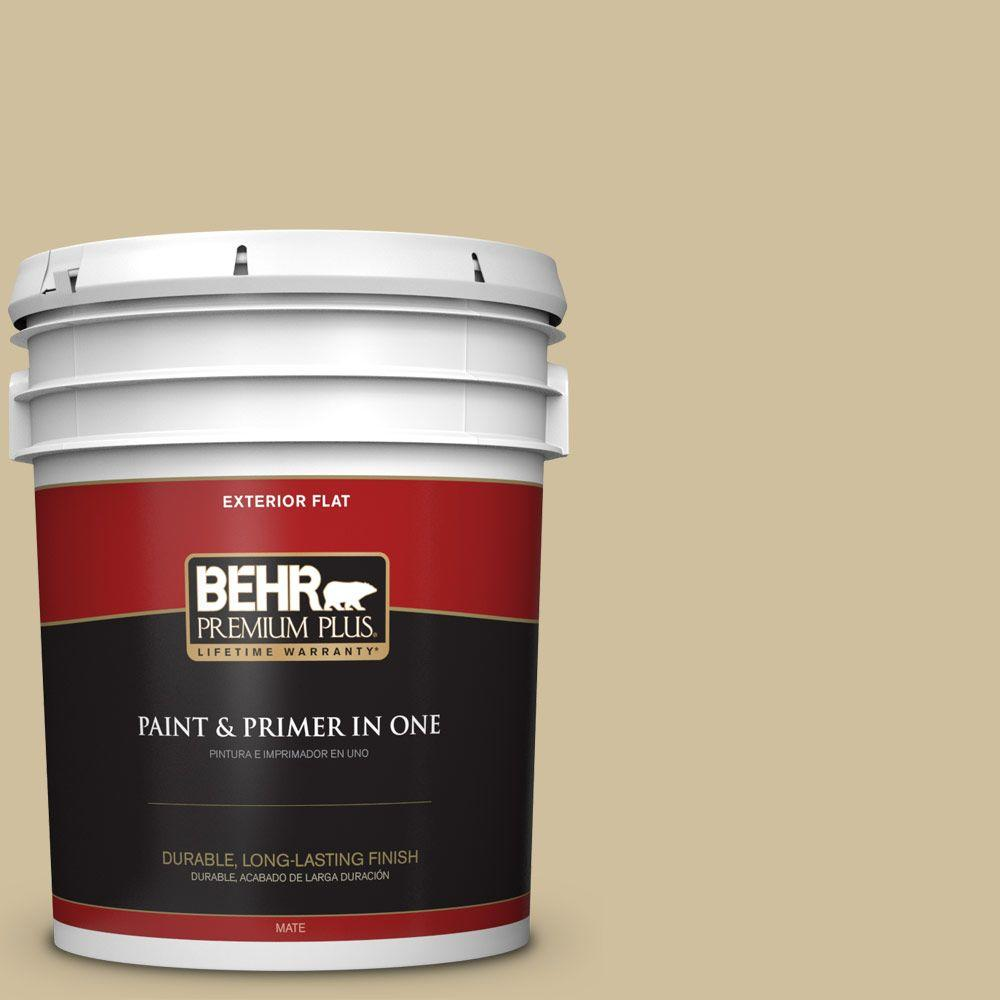 BEHR Premium Plus 5-gal. #S320-3 Final Straw Flat Exterior Paint
