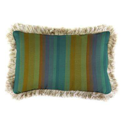 Sunbrella 19 in. x 12 in. Astoria Lagoon Lumbar Outdoor Throw Pillow with Canvas Fringe