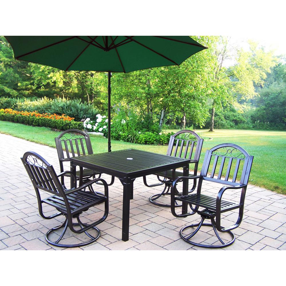 Rochester Piece Metal Outdoor Dining Set And Green UmbrellaHD - Metal picnic table with umbrella