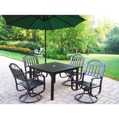 Rochester 6-Piece Metal Outdoor Dining Set and Green Umbrella