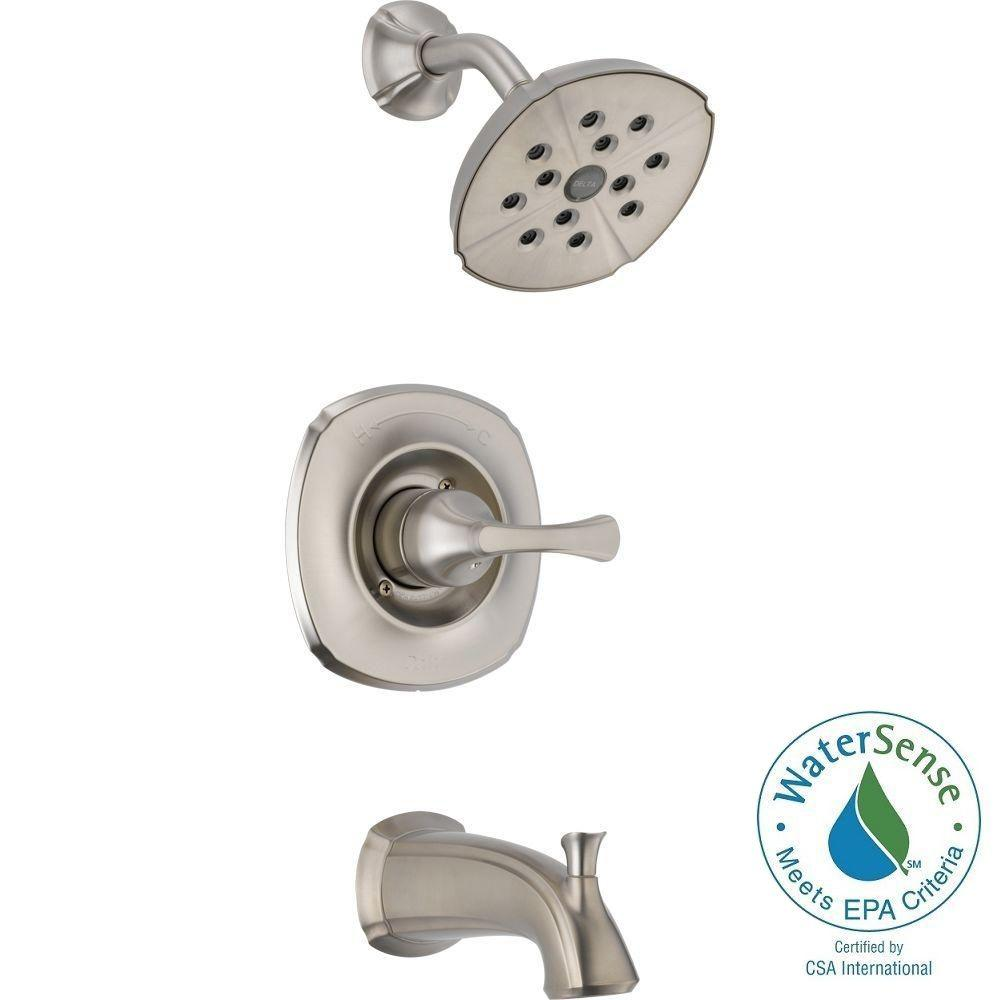 Delta Addison 1-Handle Tub and Shower Faucet Trim Kit in Stainless ...
