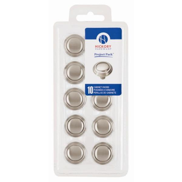 Project Pack 1-1/8 in. Bel Aire Satin Nickel Cabinet Knobs (10-Pack)