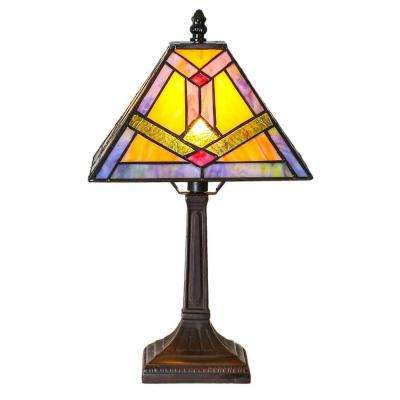 15.25 in. Multi-Colored Desk Lamp with Tiffany Style Stained Glass Southwestern Sunrise Shade