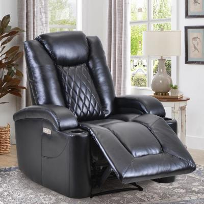 Luxurious Black PU Power Recliner with USB Charge Port and Cup Holder