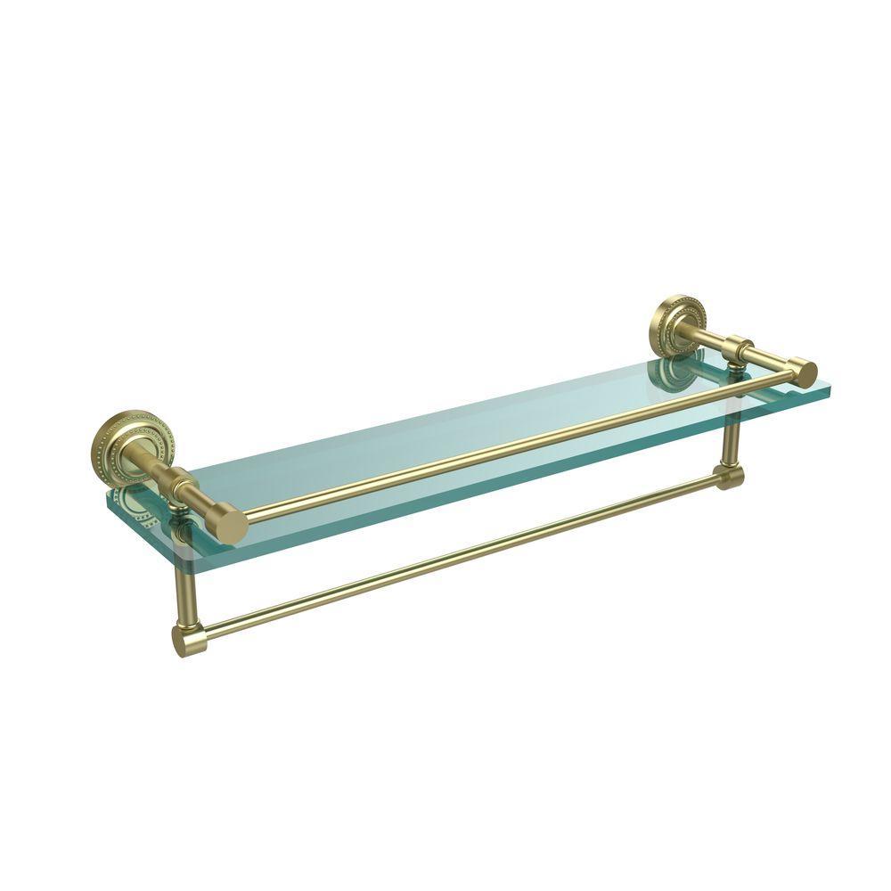 Dottingham 22 in. L  x 5 in. H  x 5 in. W Clear Glass Bathroom Shelf with Towel Bar in Satin Brass