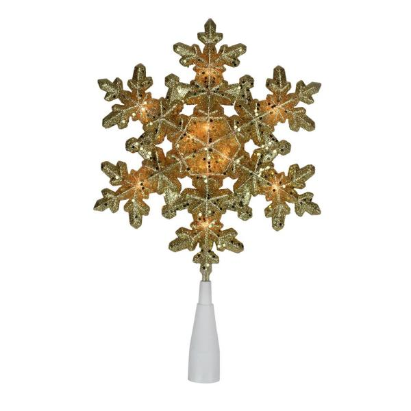 12.75 in. Lighted Gold Snowflake Christmas Tree Topper with Clear Lights