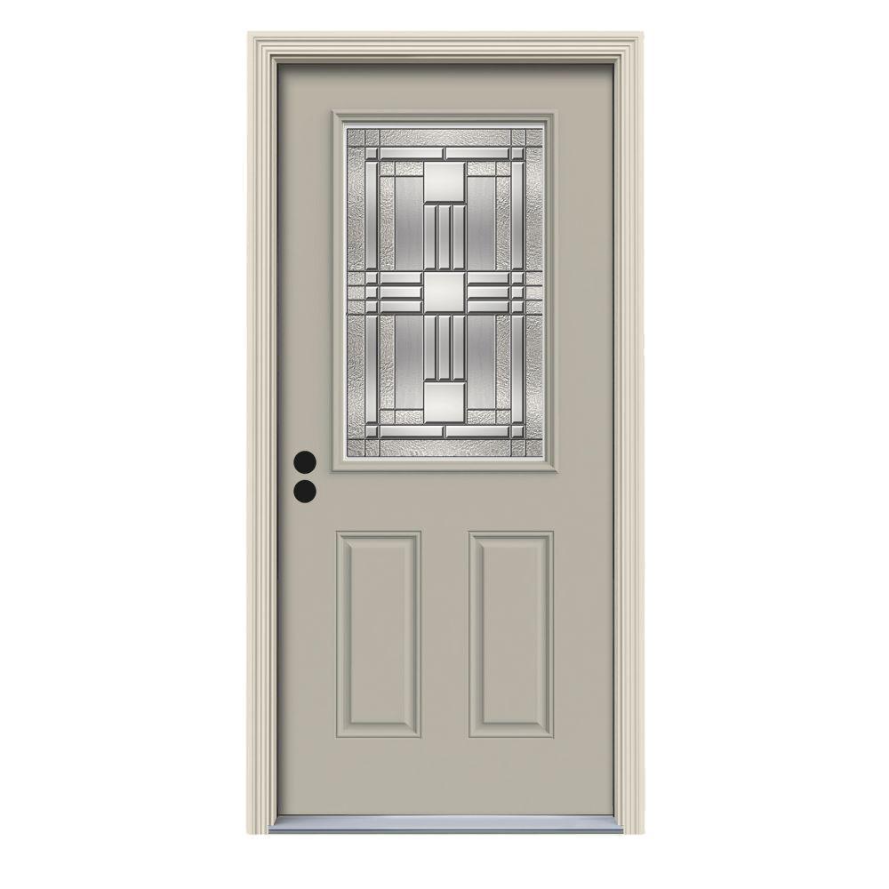 36 in. x 80 in. 1/2 Lite Cordova Desert Sand Painted Steel Prehung Right-Hand Inswing Front Door w/Brickmould