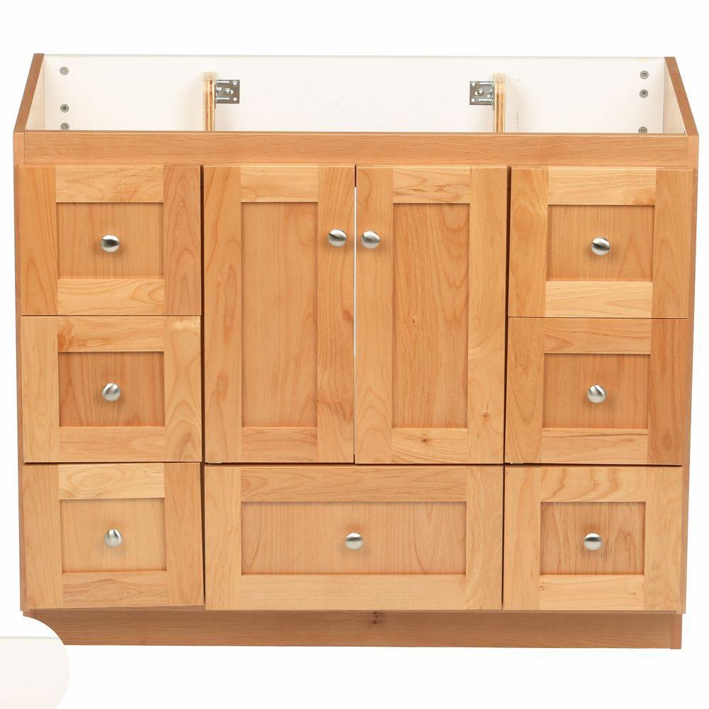 Shaker 42 in. W x 21 in. D x 34.5 in. H Vanity Cabinet Only in Natural Alder