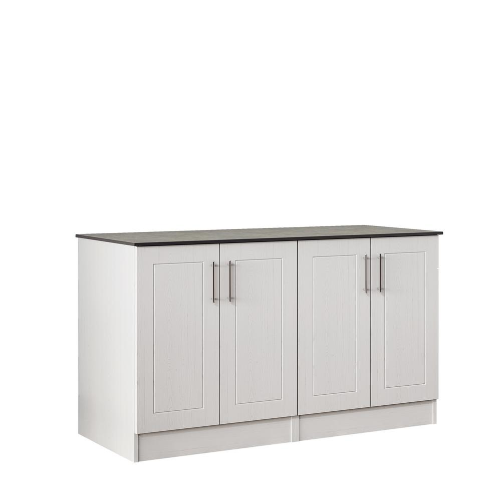 WeatherStrong Palm Beach 59.5 in. Outdoor Cabinets with Countertop 4 Full Height Doors in White
