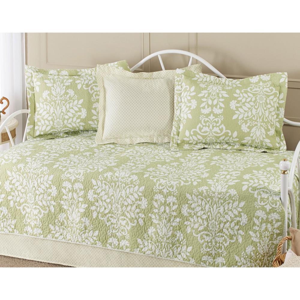 Laura Ashley Rowland 3 Piece Green King Quilt Set 174631