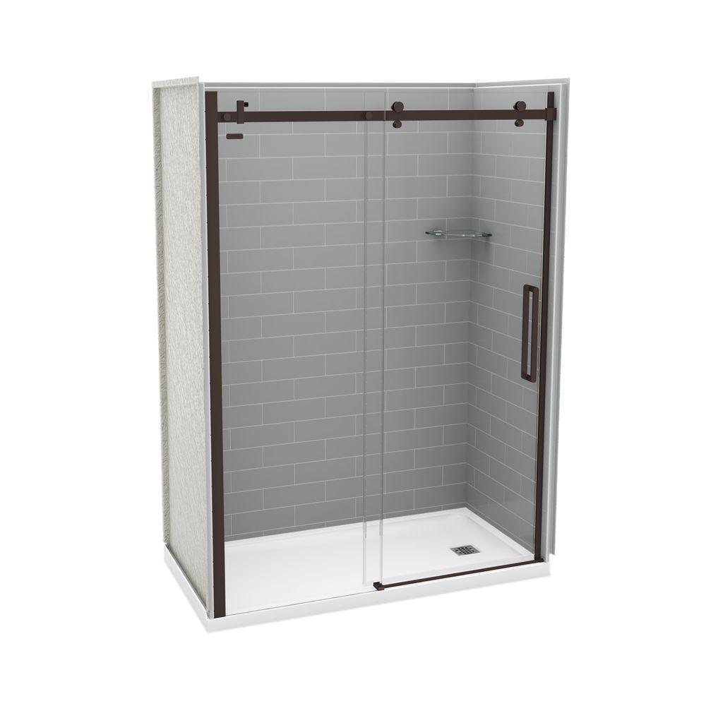 Utile Metro 32 in. x 60 in. x 83.5 in. Right Drain Alcove Shower Kit in Ash Grey with Dark Bronze Shower Door