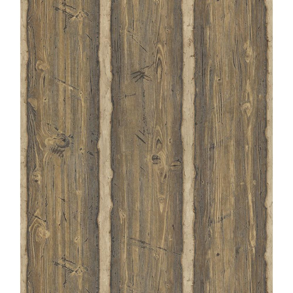 Brewster Northwoods Lodge Brown Hewn Log Wallpaper Sample