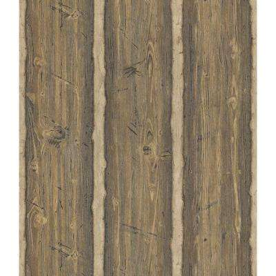 Northwoods Lodge Brown Hewn Log Wallpaper Sample