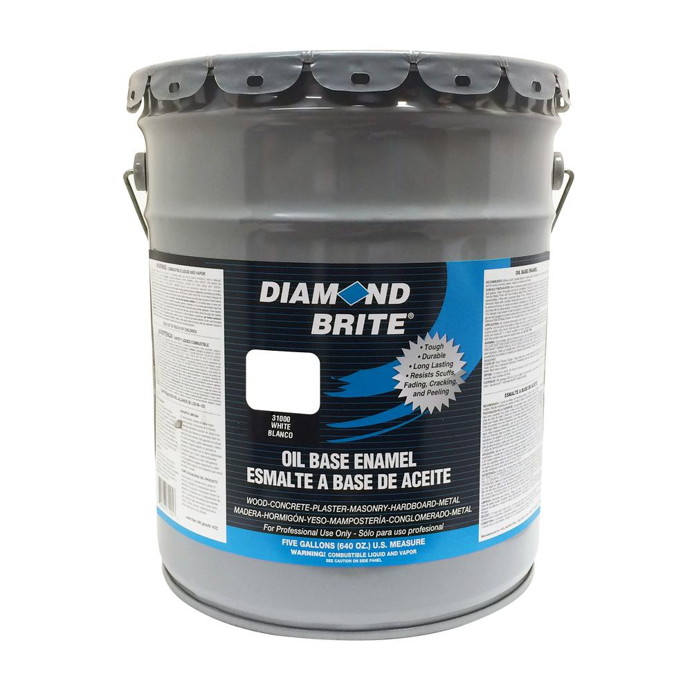 Diamond Brite Paint 5 gal. White Oil Base Enamel Interior/Exterior Paint