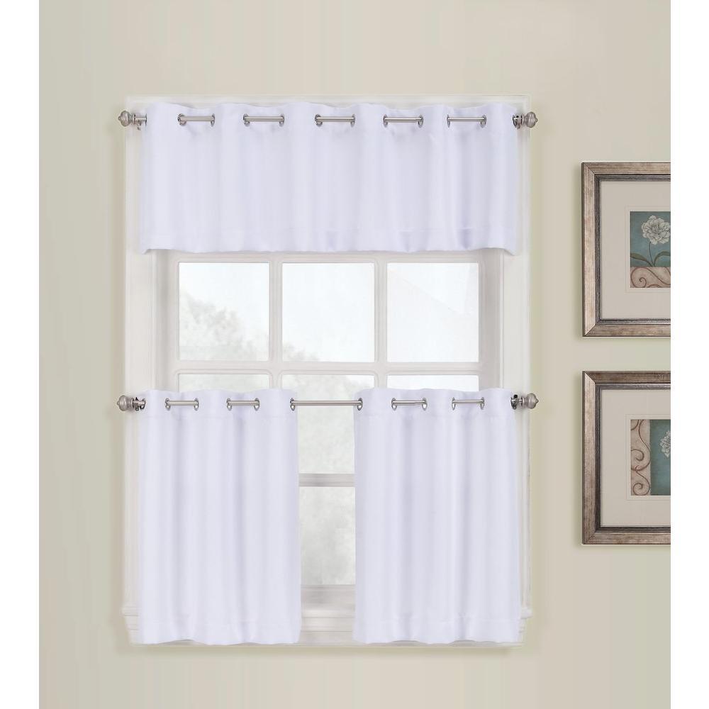 LICHTENBERG Semi-Opaque White Montego Grommet Kitchen Curtain Tiers, 56 in.  W x 24 in. L