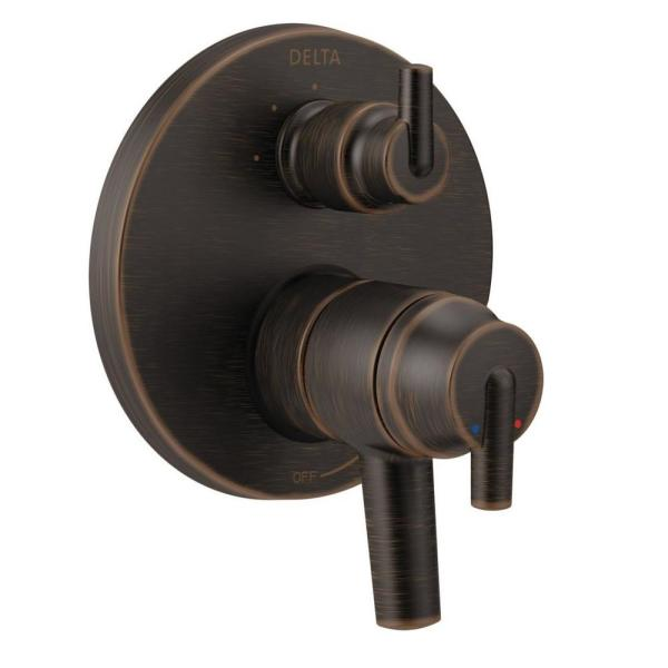 2-Handle Wall-Mount Valve Trim Kit with 3-Setting Integrated Diverter in Venetian Bronze (Valve Not Included)