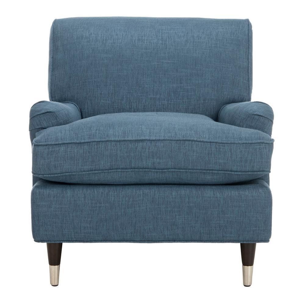 Chloe Navy/Espresso Linen Club Arm Chair