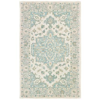 Parampara Persian Turquoise / Gray 8 ft. x 10 ft. Indoor Area Rug