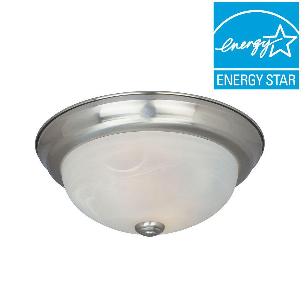 Shelley Collection 2-Light Satin Platinum Fluorescent Ceiling Compact Flushmount