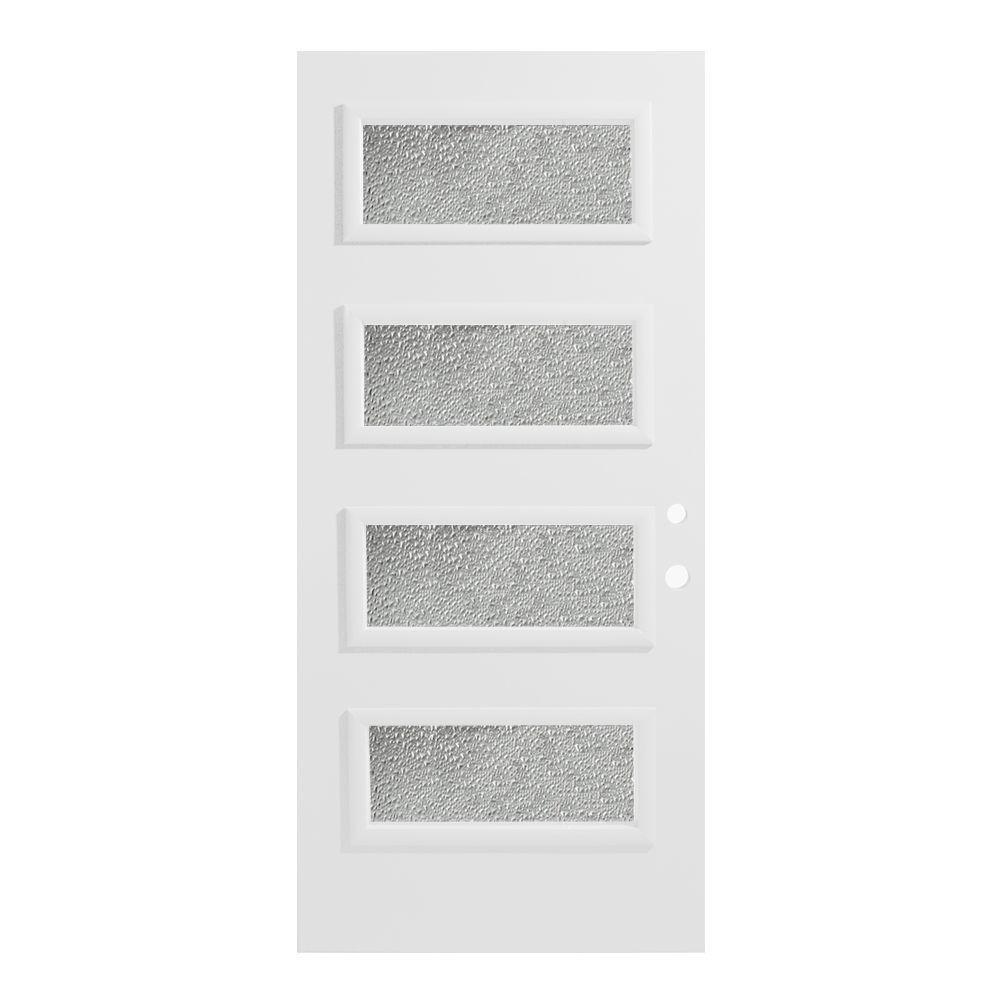 32 in. x 80 in. Lorraine Diamond 4 Lite Painted White Left-Hand Inswing Steel Prehung Front Door