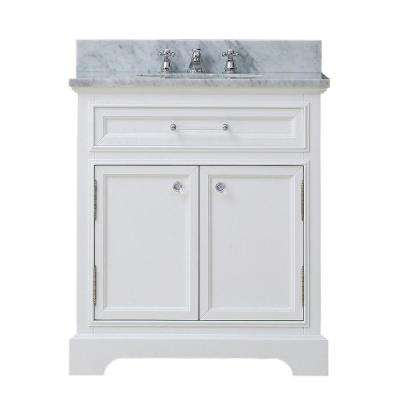 Derby 30 in. W x 22 in. D Vanity in White with Marble Vanity Top in Carrara White with White Basin and Faucet