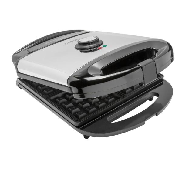 CucinaPro Classic 4-Square American Waffle Maker in Stainless and Black