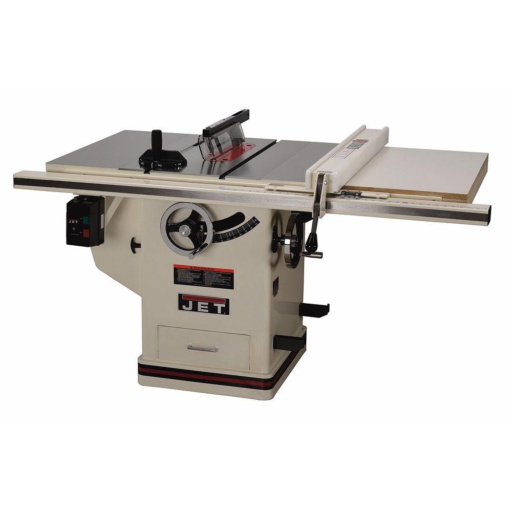 Jet 3 HP 10 in. Deluxe XACTA SAW Table Saw with 30 in. Fence, Cast Iron Wings and Riving Knife, 230-Volt