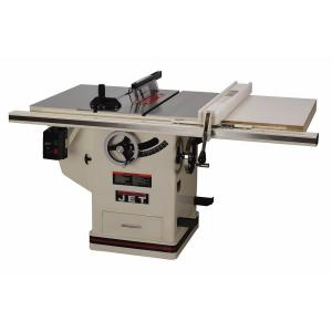 JET 3 HP 10 inch Deluxe XACTA SAW Table Saw with 30 inch Fence, Cast Iron Wings and Riving Knife, 230-Volt by JET