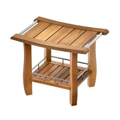 19 in. x 24 in. Teak Fully Assembled Rectangle Shower Bench with Storage Shelf