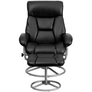 +2. Flash Furniture Contemporary Black Leather Recliner And Ottoman With  Metal Base