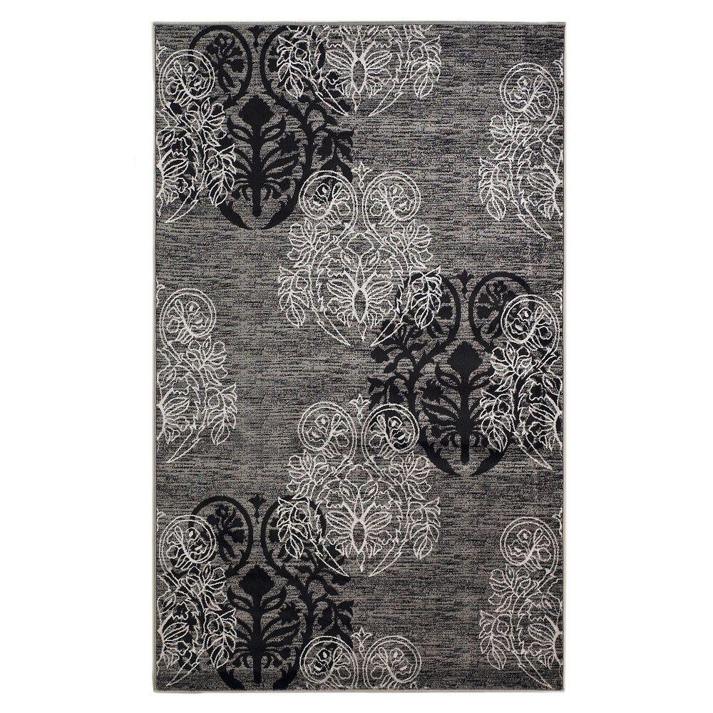 Linon Home Decor Milan Collection Grey and Black 5 ft. x 8 ft. Indoor Area Rug, Primary: Grey / Secondary: Black Created from 100% heat-set polypropylene, the Milan Collection is power loomed in Turkey. Featuring Transitional designs and trendy colors taken from today's hottest fashion trends. The Milan Collection is sure to bring style to any room in your home. Color: Primary: Grey / Secondary: Black.