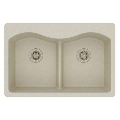 Quartz Classic Drop-In Composite 33 in. Rounded 50/50 Double Bowl Kitchen Sink in Bisque