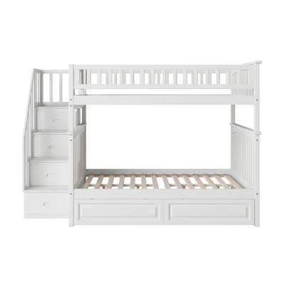 Columbia Staircase Bunk Bed Full Over Full with 2 Raised Panel Bed Drawers in White