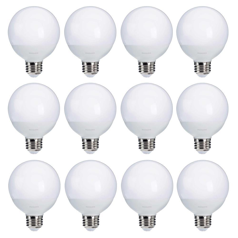Philips 60-Watt Equivalent G25 LED Light Bulb Soft White Frosted Globe  (12-Pack)