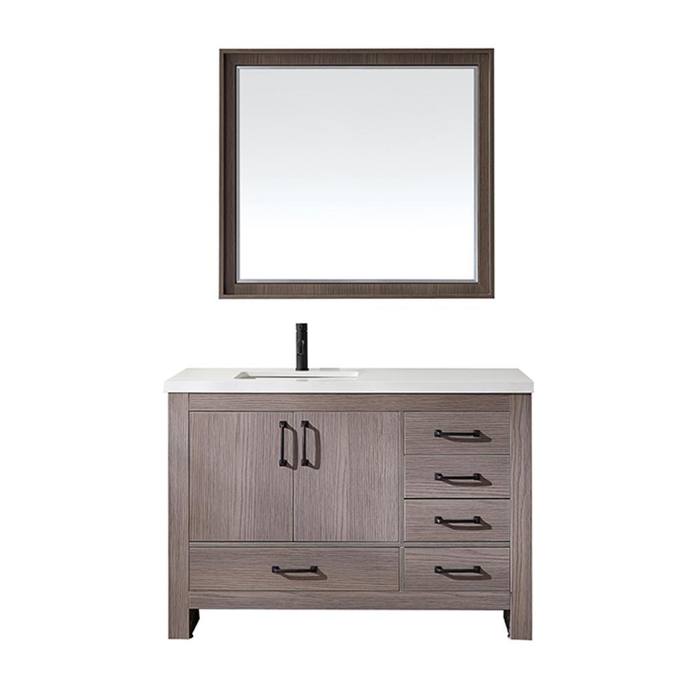 Forli 48 in. W x 22 in. D Bath Vanity in Dark Grey with Quartz Vanity Top in White with White Basin and Mirror
