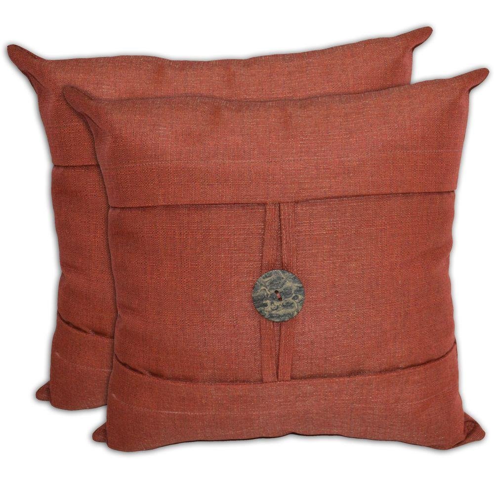 Hampton Bay Red Textured with Button Outdoor Throw Pillow (2-Pack)-DISCONTINUED