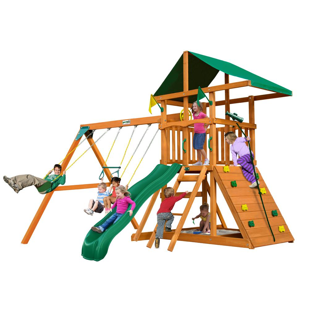 Gorilla Playsets Outing III Wooden Swing Set with Rock Wall and Slide