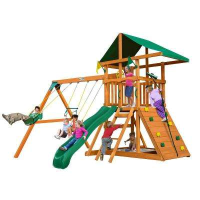 Outing III Wooden Swing Set with Rock Wall and Slide