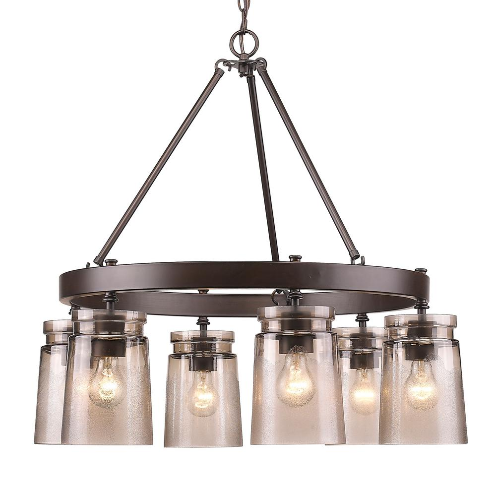 Hampton Bay Grace 9 Light Rubbed Bronze Chandelier With Seeded Glass