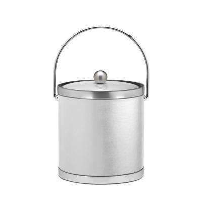 Sophisticates 3 Qt. White and Brushed Chrome Ice Bucket with Bale Handle and Metal Cover